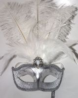 Silver and White Feather Mask on Stick